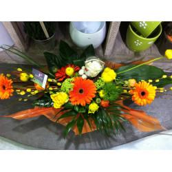 bouquet fagot dans poche d'eau orange