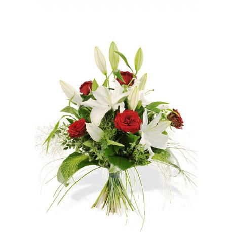 Bouquet roses rouges et lis blanc