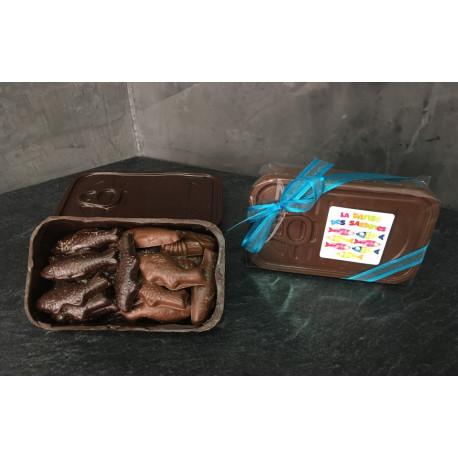 Boîte à sardines en chocolat